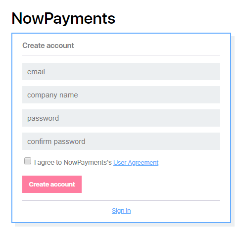 NowPayments - Create Account