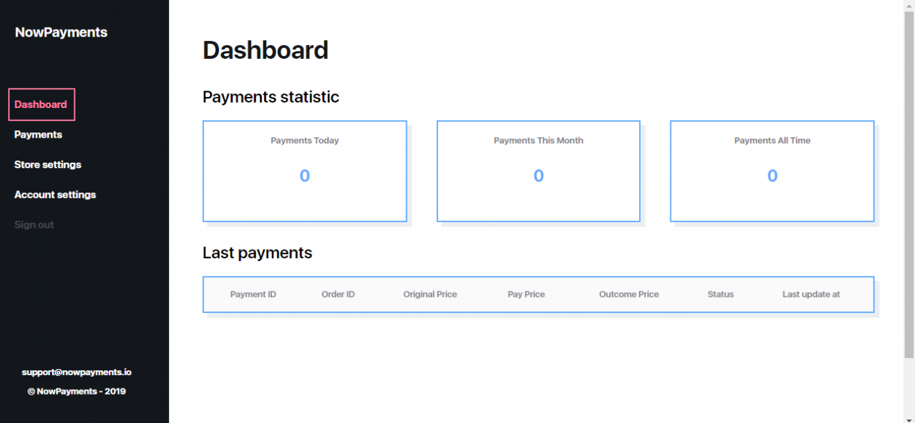 NowPayments - Dashborad