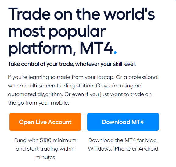Blueberry Markets - MetaTrader platforms