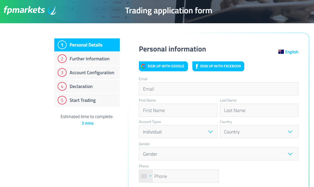 FP Markets Review - Trading Application form