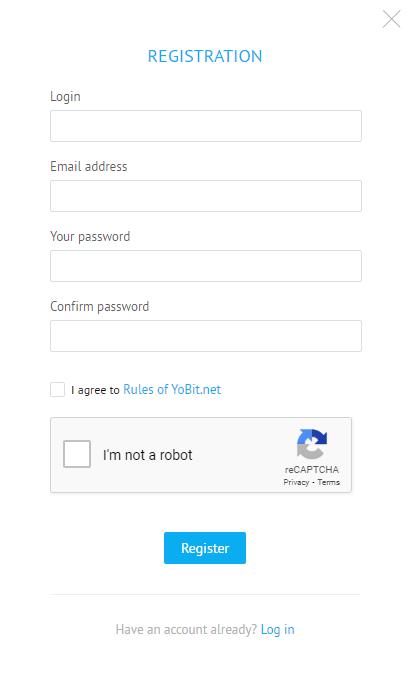 YoBit Review - Registration Process at YoBit Exchange