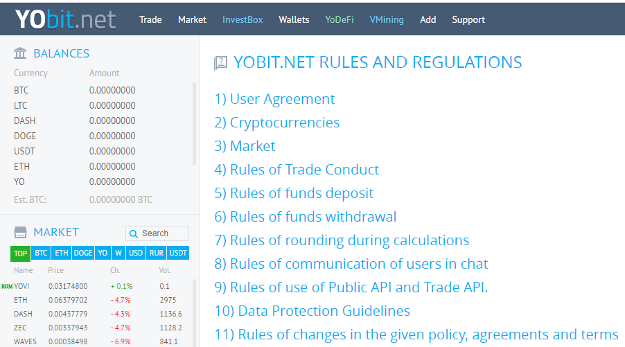 YoBit Review - Rules and Regulations For Security Maintenance