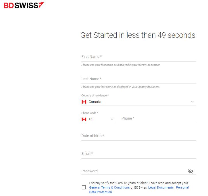 BDSwiss Account Opening Process
